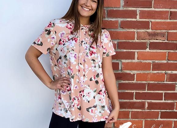 Peach floral hoodie