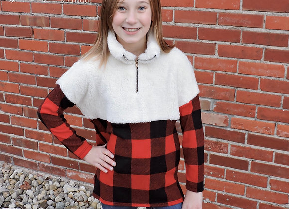 Girl's fuzzy plaid pullover
