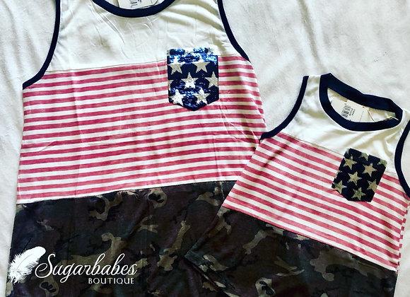 Kids patriotic camo and stripes tank