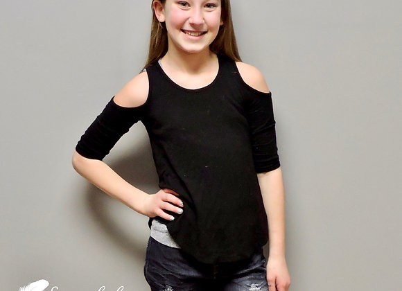 Kids black cold shoulder top