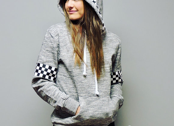 Charcoal checkered hoodie