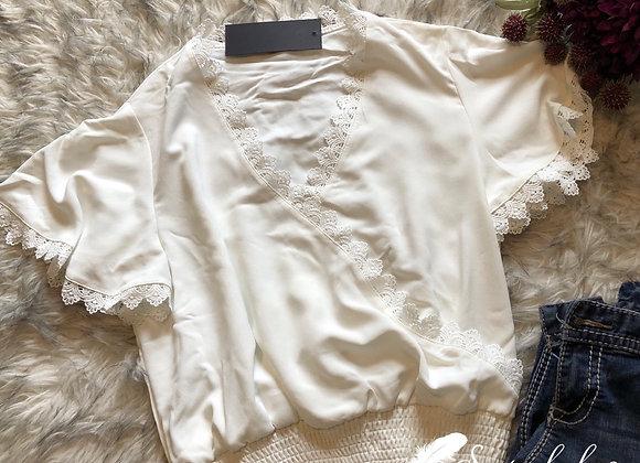 Off-White Crochet Smocked Top