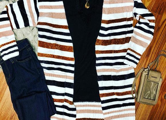 Multi Striped Open Cardigan