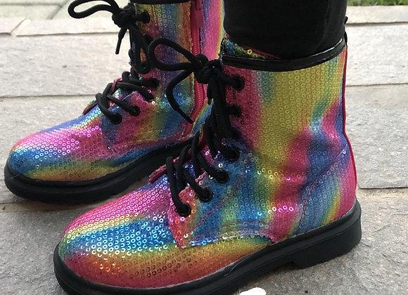 Rainbow sparkle girls boots