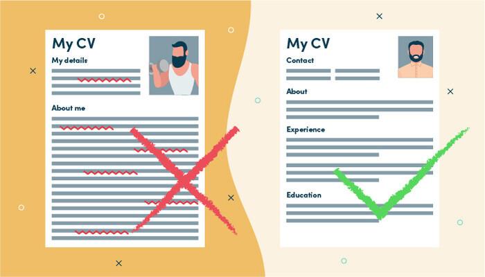Right and wrong CV format
