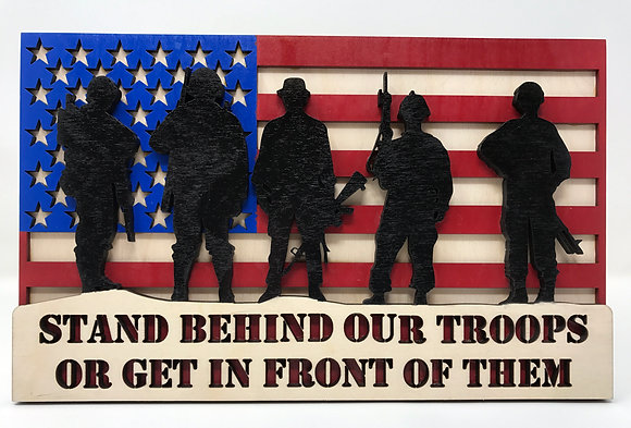 Flag with Silhouette Soldiers - Stand behind our Troops