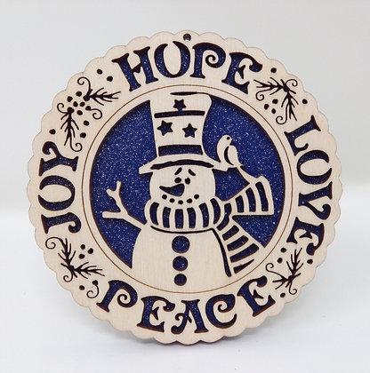 Hope-Love-Peace-Joy Snowman Plate