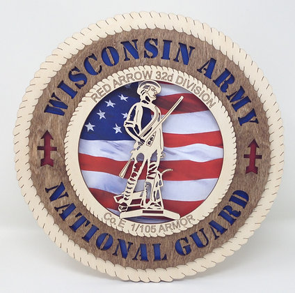12 inch Wall Tribute - Wisconsin Army National Guard