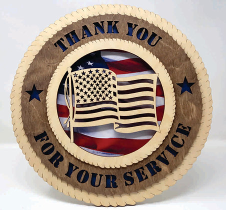 12 inch Wall Tribute - Thank Your for Your Service