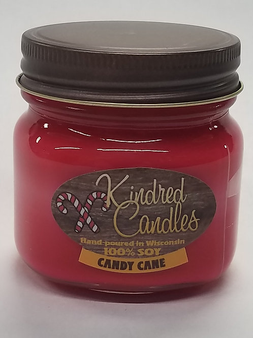 1/2 Pint Soy Jar - Candy Cane (Holiday)