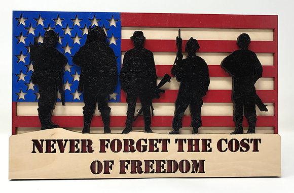 Flag with Silhouette Soldiers - Never Forget the Cost