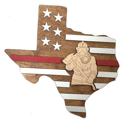 Texas Thin Red Line Firefighters Plaque