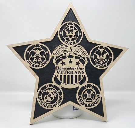 10 inch - Remember Our Veterans Star Plaque