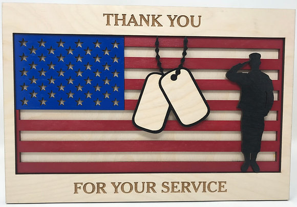 Flag with Dog Tags and Soldier Thank You