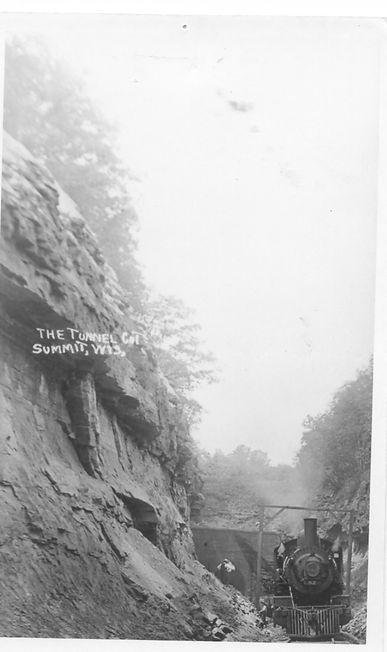Summit tunnel and train historic postcar