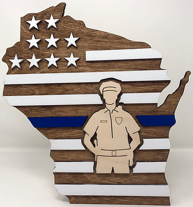 Wisconsin 3D Thin Blue Line Policeman plaque