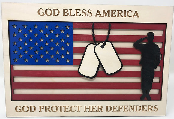 Flag with Dog Tags and Soldier God Bless America
