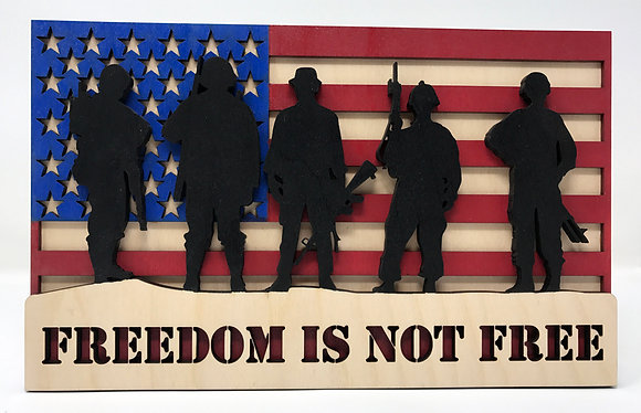 Flag with Silhouette Soldiers - Freedom is not Free