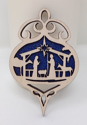 Nativity Scene with fancy top Ornament
