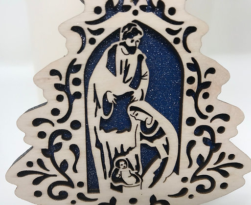 Filigree Tree Nativity Scene Ornament