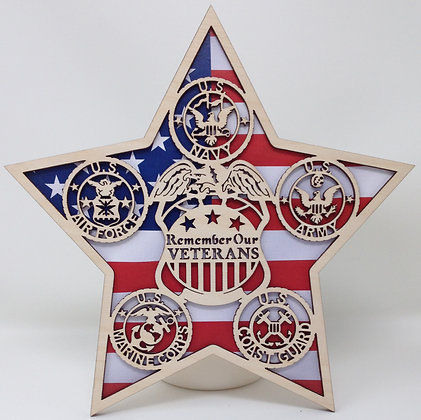 10 inch Military Star - Remember our Veterans