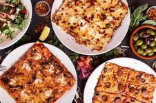 La Crevettes, saté et gingembre, La Poires, calabrese & chèvre, La Andalouse