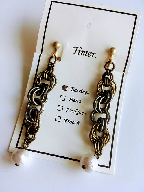 Timer.brass and cotton pearl Earrings