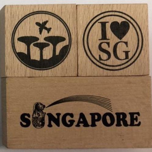 シンガポールスタンプ 青セット(パッケージの色が青)