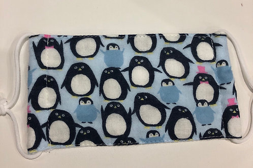 【Penguins /blue】5ply Gauze Mask 5重平面ガーゼマスク(S)
