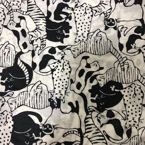 【モノクロ猫】5ply Gauze Mask 5重平面ガーゼマスク(M)