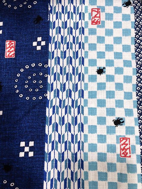 甚平 甲虫クワガタ ブルー