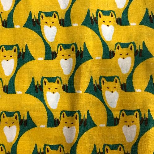 【fox/yellow and green】5ply Gauze Mask 5重平面ガーゼマスク(S)