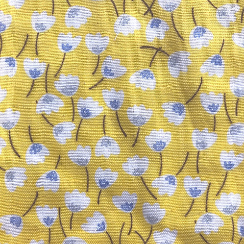 【Small flower/yellow】5ply Gauze Mask 5重平面ガーゼマスク(M)