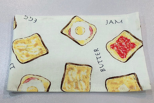 【Breakfast Toast/white】5ply Gauze Mask 5重平面ガーゼマスク(S)