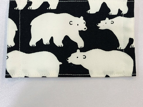 【Polar Bear/black】5ply Gauze Mask 5重平面ガーゼマスク(S)