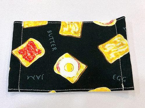 【Breakfast Toast/Black】5ply Gauze Mask 5重平面ガーゼマスク(S)