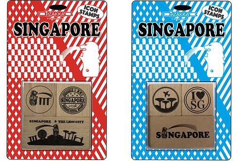 シンガポールスタンプ 赤青セット