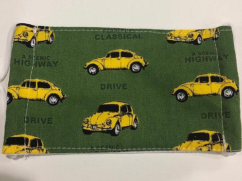 【Highway drive/green】5ply Gauze Mask 5重平面ガーゼマスク(S)