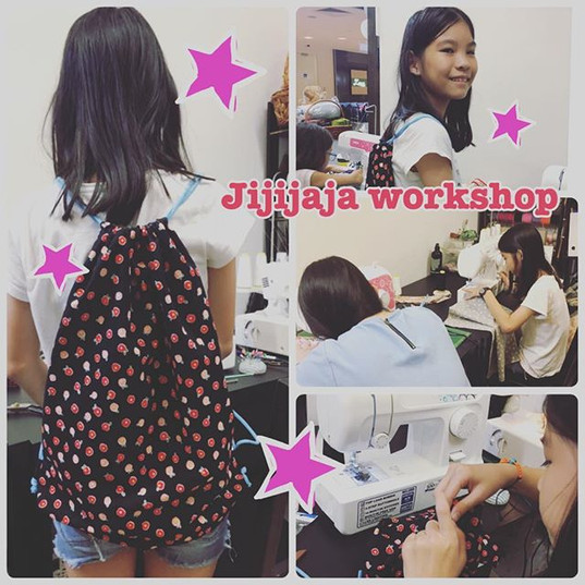 Today's bag workshop!(o^^o)_12歳の女の子がナップサ