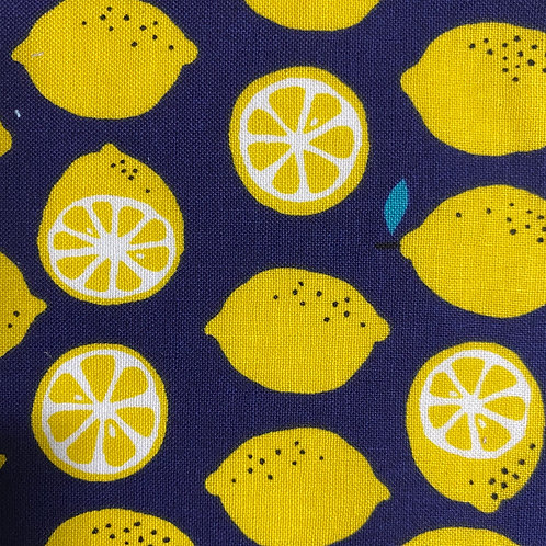 [🍋 Lemon/blue】5ply Gauze Mask 5重平面ガーゼマスク(S)