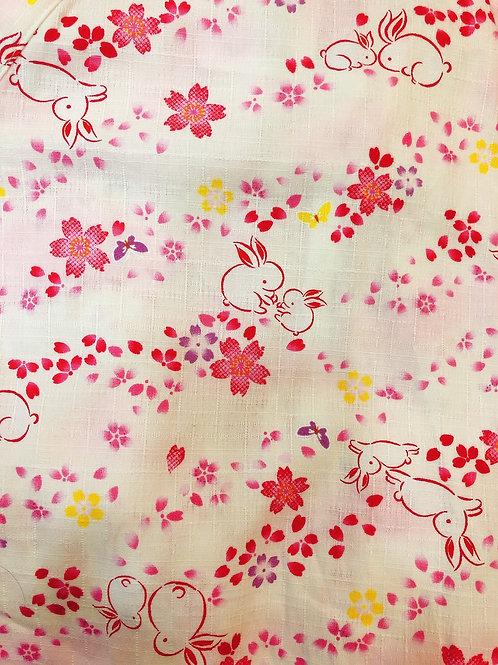 甚平 兎桜 薄ピンク
