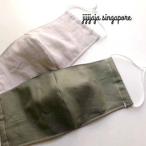 【リネンの夏マスク】スモークグリーン (linen/green) Sensitive skin without filter pocket
