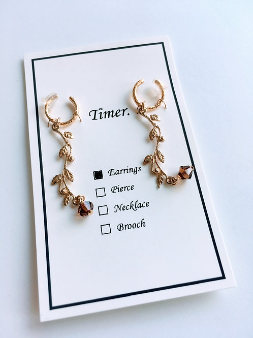 Timer.BrownIvy Earring