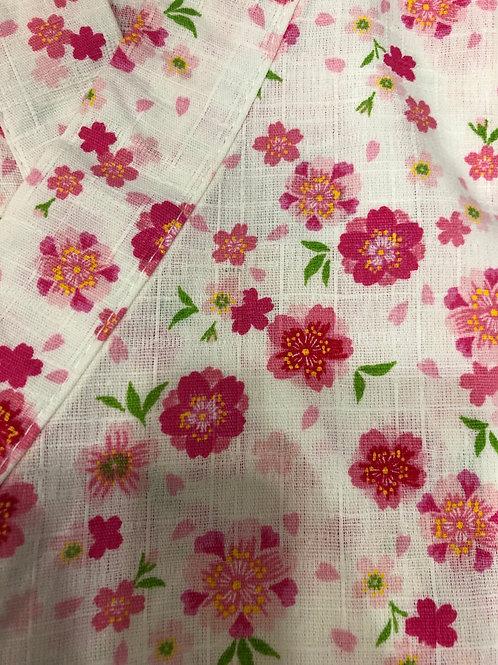 🌸甚平 桜と花びら 白