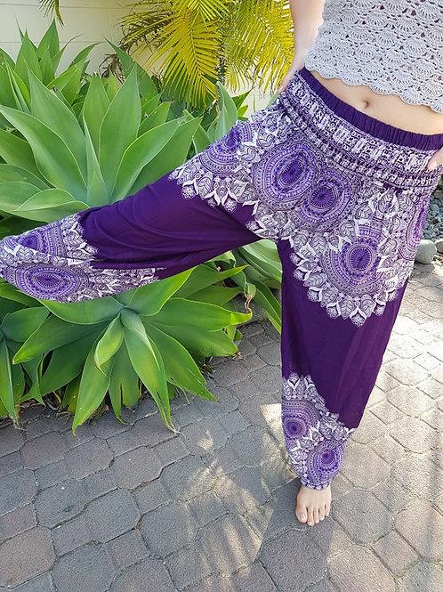 Boho Pocket Pants - Purple Mandala