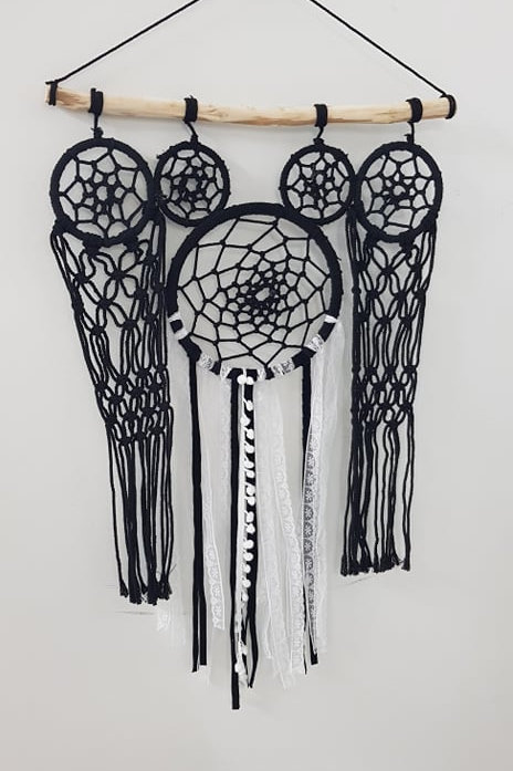 Macrame hanging with lace detail