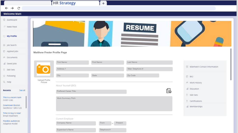 Profile Creating Page