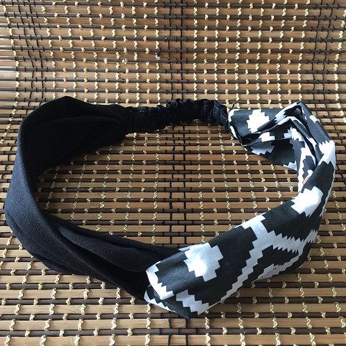 Cinta Turbante de Verano Blanco y Negro