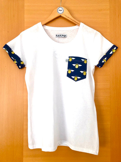 T-shirt Polka Bumble Bee Blue / Camiseta Abejas Azul