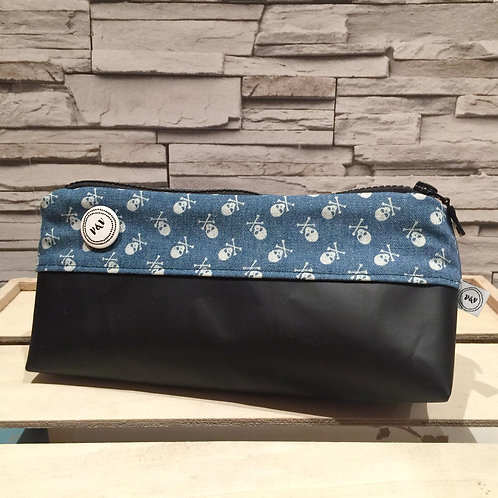 Pencil Case Skulls Denim  / Estuche Calaveras Vaquero